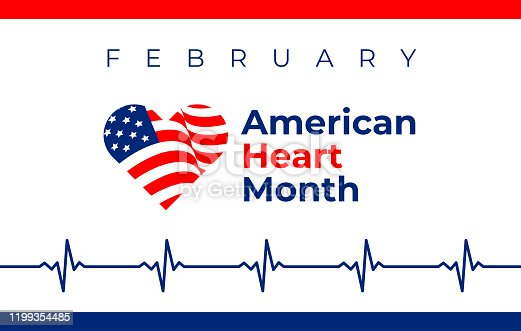 National heart month in February. American flag and heart concept design. Vector illustration ECG graph for banner, flyer, poster and social medial and hospital use.