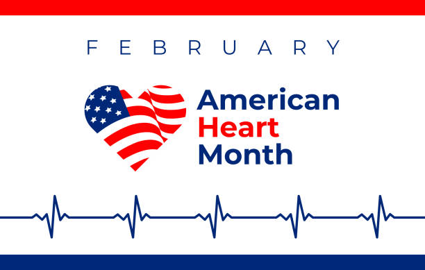 National heart month in February. American flag and heart concept design. For banner, flyer, poster and social medial and hospital use. Vector illustration. National heart month in February. American flag and heart concept design. Vector illustration ECG graph for banner, flyer, poster and social medial and hospital use. month stock illustrations
