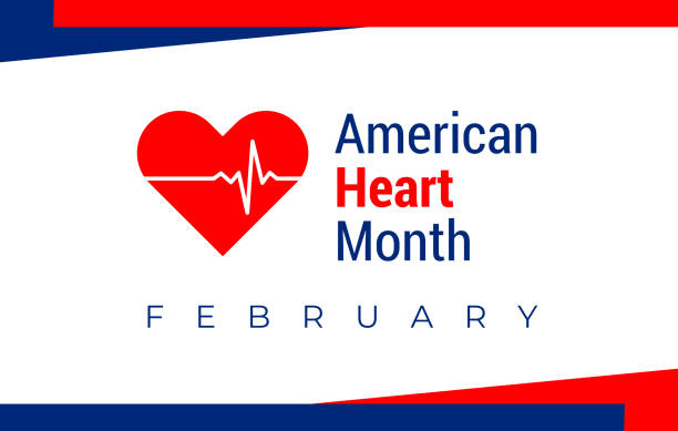 National heart month in February. American flag and heart concept design. For banner, flyer, poster and social medial and hospital use. Vector illustration. National heart month in February. American flag and heart with pulse concept design. Vector illustration for banner, flyer, poster and social medial and hospital use. month stock illustrations