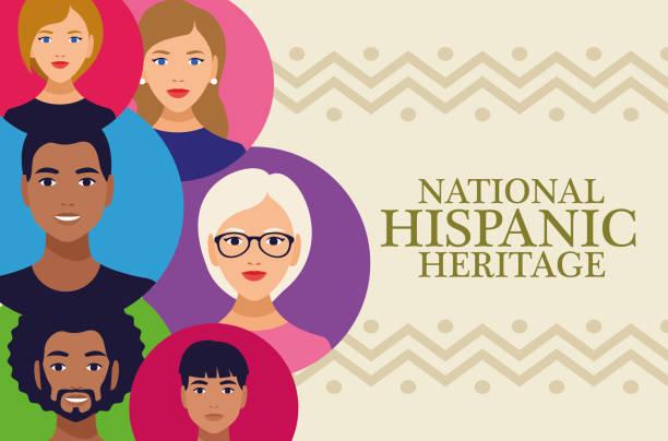 bildbanksillustrationer, clip art samt tecknat material och ikoner med nationella spansktalande arv firande bokstäver med människor i cirklar färger - tradition