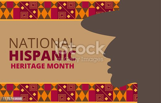 National Hispanic Heritage Month celebrated from 15 September to 15 October USA. Chilean and Latino American poncho ornament vector for greeting card, banner, poster and background.