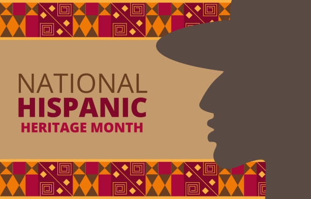 National Hispanic Heritage Month celebrated from 15 September to 15 October USA. National Hispanic Heritage Month celebrated from 15 September to 15 October USA. Chilean and Latino American poncho ornament vector for greeting card, banner, poster and background. month stock illustrations