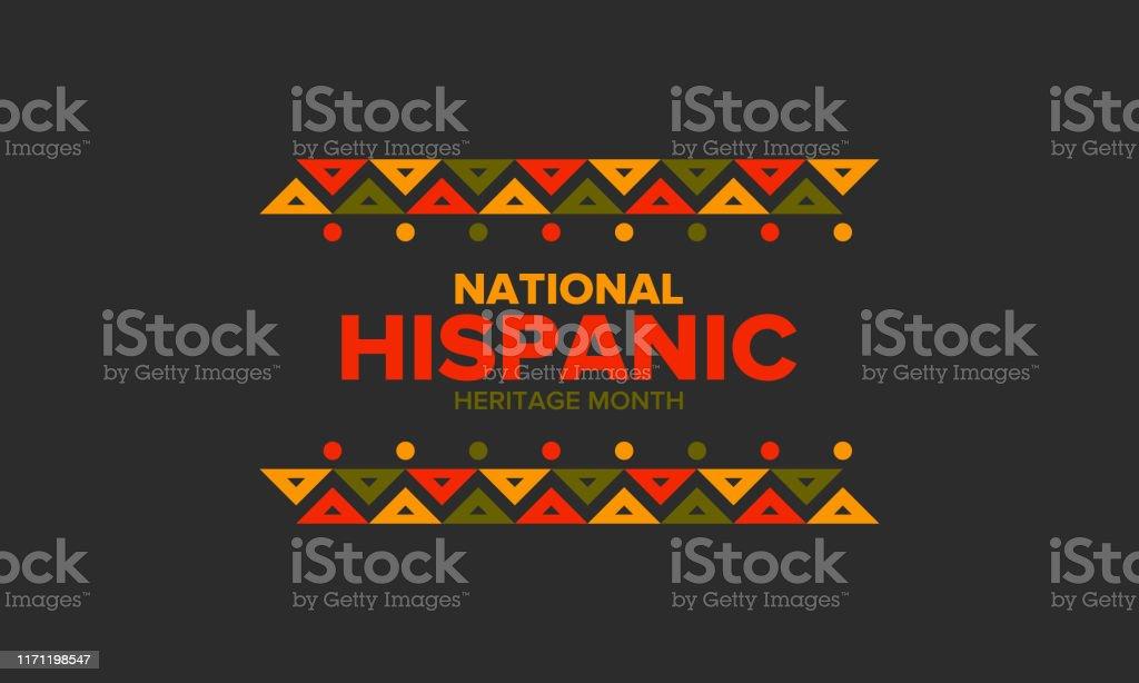 Nationale Hispanic Heritage maand in september en oktober. Hispanic en Latino Amerikanen cultuur. Vier jaar in Verenigde Staten. Poster, kaart, banner en achtergrond. Vector illustratie - Royalty-free Achtergrond - Thema vectorkunst