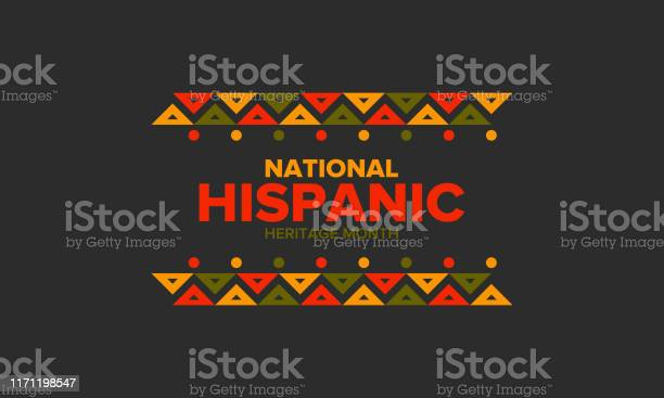 Nationale Hispanic Heritage Maand In September En Oktober Hispanic En Latino Amerikanen Cultuur Vier Jaar In Verenigde Staten Poster Kaart Banner En Achtergrond Vector Illustratie Stockvectorkunst en meer beelden van Achtergrond - Thema