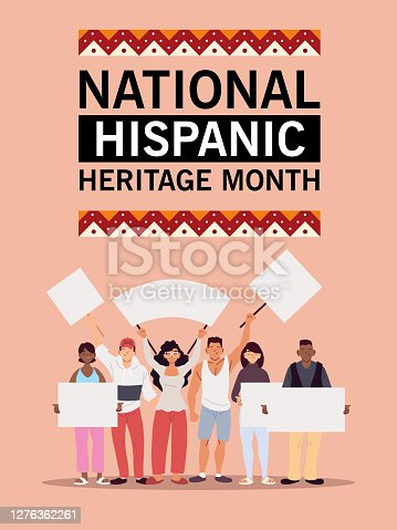 national hispanic heritage month with latin men and women with banners design, culture and diversity theme Vector illustration