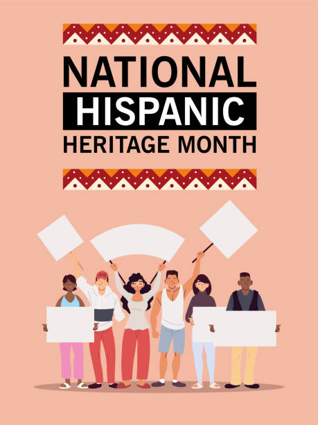 bildbanksillustrationer, clip art samt tecknat material och ikoner med nationella spansktalande arv månad med latinska män och kvinnor med banners vektor design - tradition