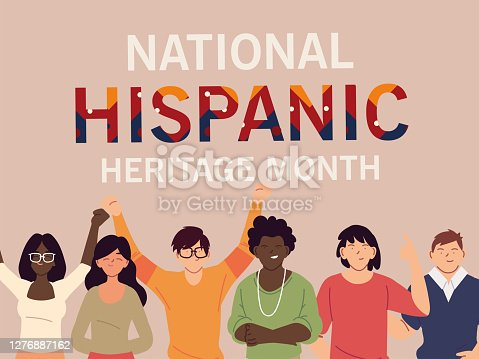 national hispanic heritage month with latin women and men cartoons design, culture and diversity theme Vector illustration