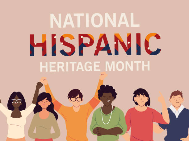 national hispanic heritage month with latin women and men vector design national hispanic heritage month with latin women and men cartoons design, culture and diversity theme Vector illustration hispanic heritage month stock illustrations