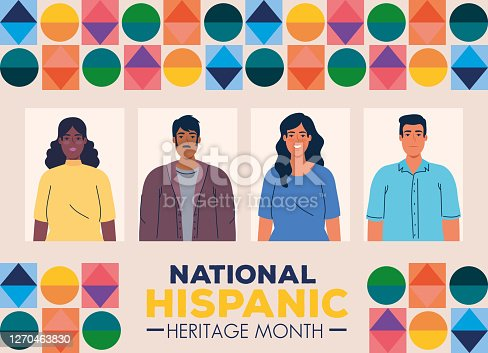 national hispanic heritage month with multiethnic group of people together vector illustration design