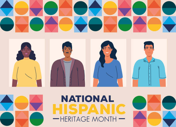 national hispanic heritage month with multiethnic group of people together national hispanic heritage month with multiethnic group of people together vector illustration design latin american and hispanic ethnicity stock illustrations