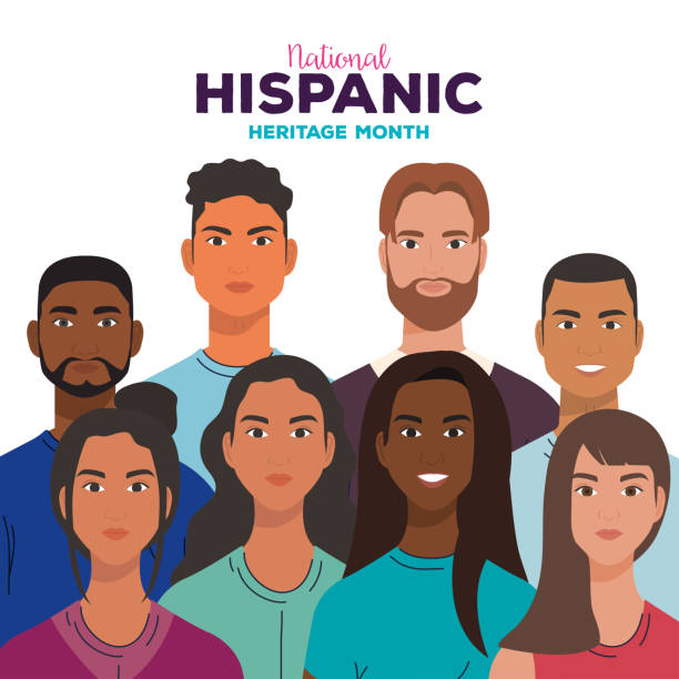national hispanic heritage month, with women and men together, diversity and multiculturalism concept national hispanic heritage month, with women and men together, diversity and multiculturalism concept vector illustration design hispanic heritage month stock illustrations