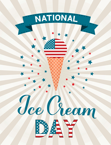 USA National Ice Cream Day retro patriotic poster with lettering and ice cream cone. Funny American holiday celebrate third Sunday of july. Vector template for banner, flyer, cafe or restaurant menu.