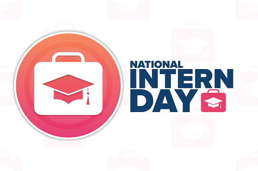 National Intern Day. Holiday concept. Template for background, banner, card, poster with text inscription. Vector EPS10 illustration