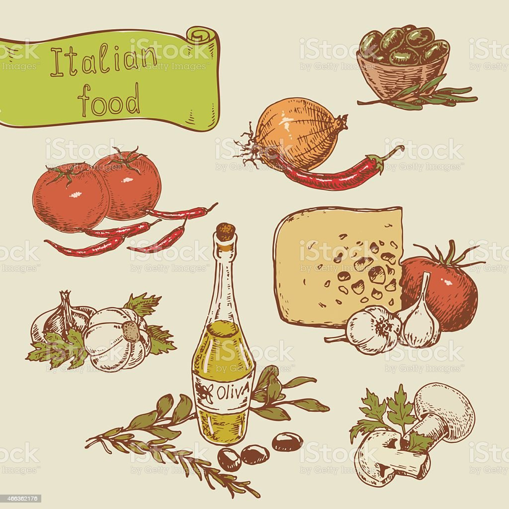 national Italian food vector art illustration
