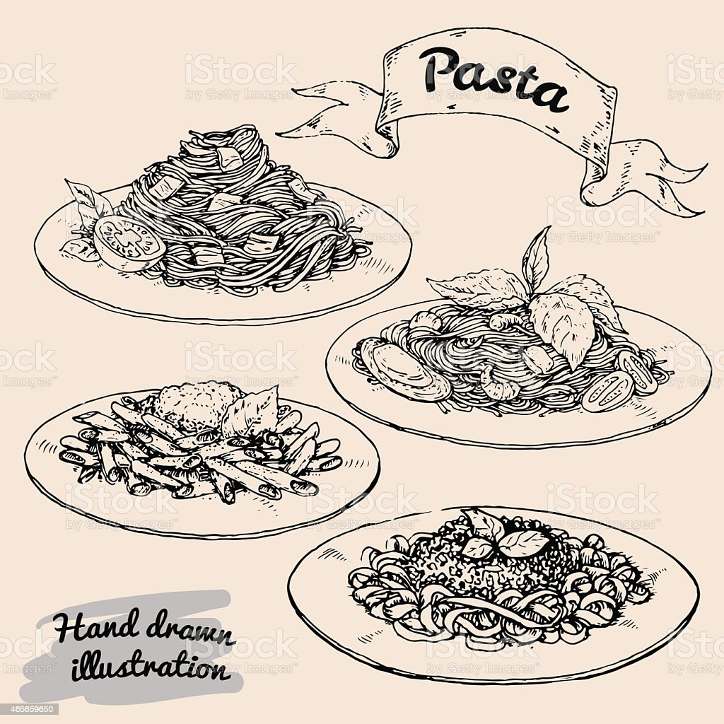 national Italian pasta vector art illustration