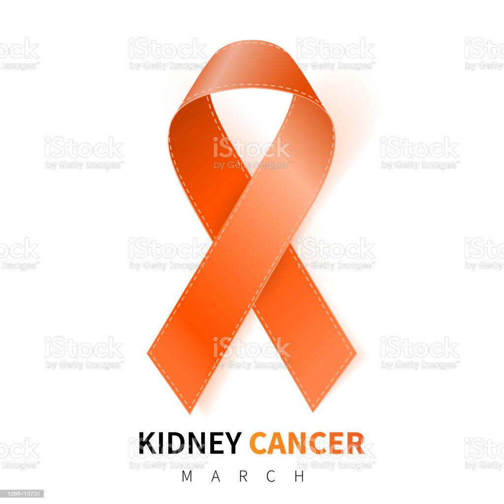 National Kidney Cancer Awareness Month Realistic Orange Ribbon Symbol Medical Design Vector Illustration Stock Illustration Download Image Now Istock