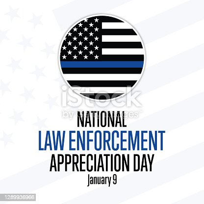 National Law Enforcement Appreciation Day L.E.A.D. January 9. Holiday concept. Template for background, banner, card, poster with text inscription. Vector EPS10 illustration