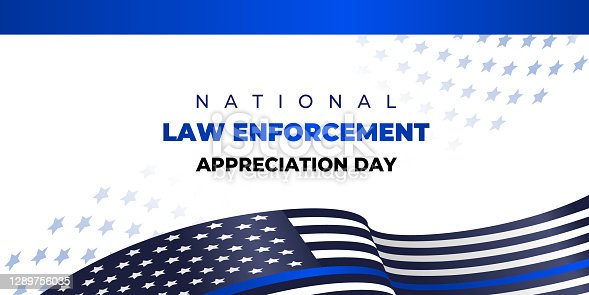 National Law Enforcement Appreciation Day. Vector banner, poster, card for social media with the text National Law Enforcement Appreciation Day. January, 9