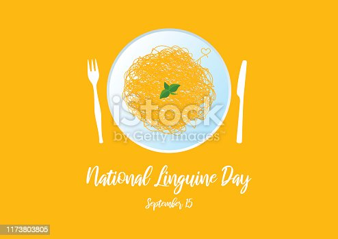 Plate of spaghetti vector. Pasta isolated on a yellow background. Pasta with basil icon. Linguine Day Poster, September 15. Important day
