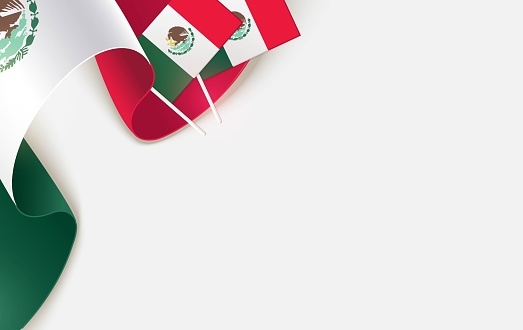 National mexican flags isolated on white background.