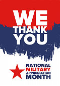National Military Appreciation Month in May. Annual Armed Forces Celebration Month in United States. Patriotic american elements. Poster, card, banner and background. Vector illustration
