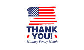 National Military Family Month in United States. Celebrate annual in November. Thank you for military family. Patriotic american elements. Poster, card, banner, background. Vector illustration
