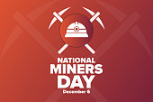 istock National Miners Day. December 6. Holiday concept. Template for background, banner, card, poster with text inscription. Vector EPS10 illustration. 1286151683