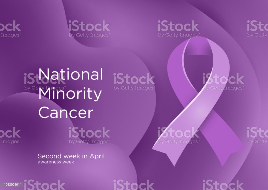 National Minority Cancer awareness week - second week in April. Lavender or violet color ribbon Cancer Awareness Products. Vector illustration. vector art illustration