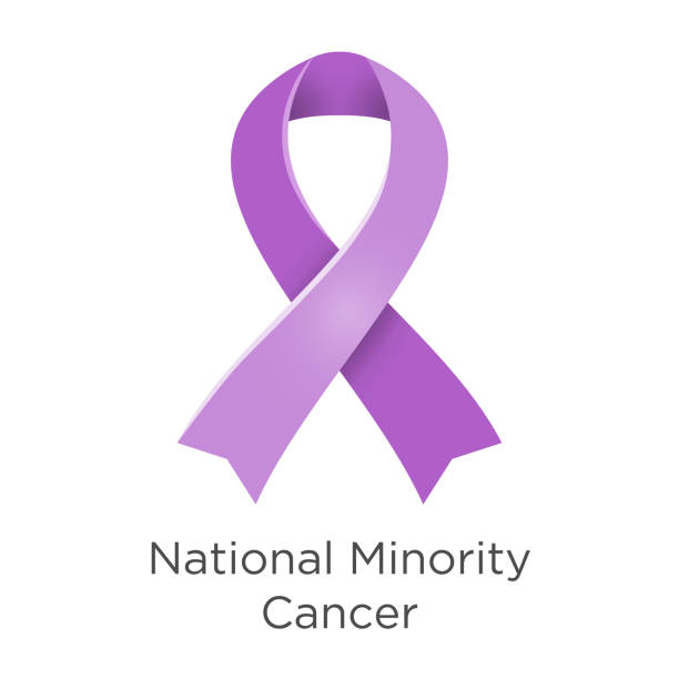 national minority cancer awareness week - second week in april. lavender or violet color ribbon cancer awareness products. vector illustration. white isolated. - minority stock illustrations, clip art, cartoons, & icons