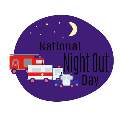 National Night Out Day, rescue services, idea for a poster or postcard