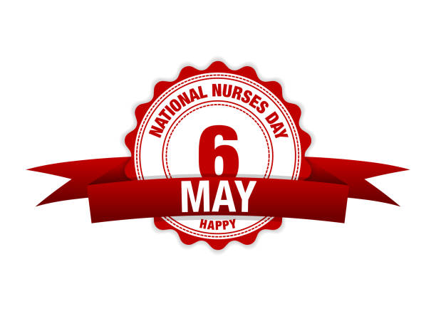 national nurses day. 6 may ribbon calendar. vector red - happy holidays stock illustrations