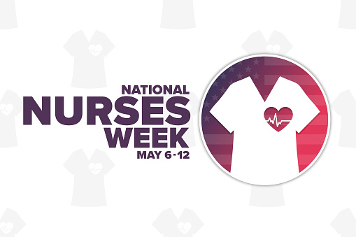 National Nurses Week. May 6 - 12. Holiday concept. Template for background, banner, card, poster with text inscription. Vector EPS10 illustration