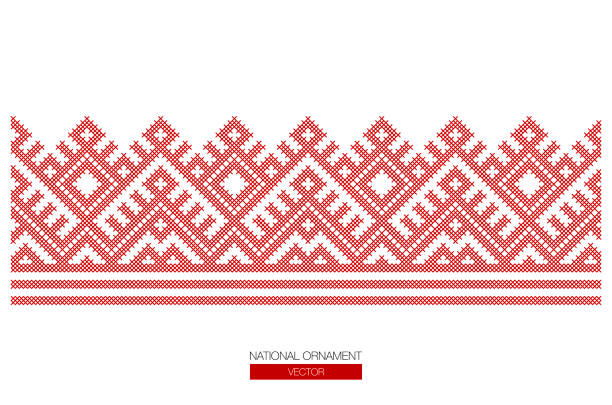 national ornament background Slavic red and Belarusian national ornament. Embroidery. lithuania stock illustrations