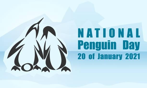 National Penguin Day background, poster, card vector art illustration
