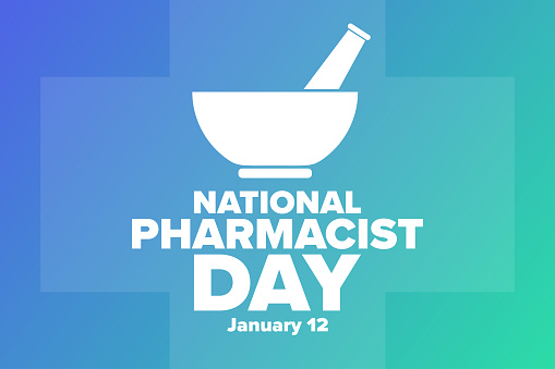 National Pharmacist Day. January 12. Holiday concept. Template for background, banner, card, poster with text inscription. Vector EPS10 illustration.