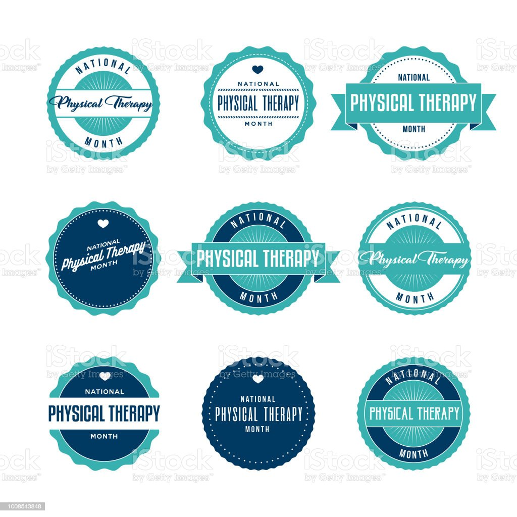 National Physical Therapy Month Labels Icon Set vector art illustration