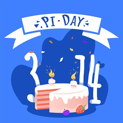 National Pi day square banner template. Pi Pie for mathematicians with birthday candle on it, 3,14 numbers and confetti.