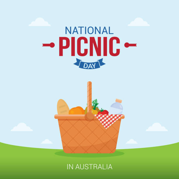 ilustraciones, imágenes clip art, dibujos animados e iconos de stock de ilustración de vector de día de picnic nacional. conveniente para la tarjeta de felicitación, póster y banner. - picnic