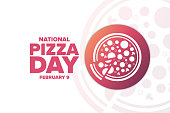 National Pizza Day. February 9. Holiday concept. Template for background, banner, card, poster with text inscription. Vector EPS10 illustration