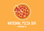 Salami pizza vector. Pepperoni Pizza icon. Pizza Day Poster, February 9. Important day. American food