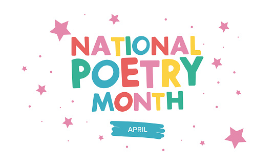 National Poetry Month in April. Poster with handwritten lettering. Poetry Festival in the United States and Canada. Literary events and celebration. Greeting card, invitation, poster, banner or background. Vector