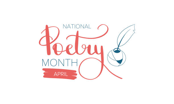 National Poetry Month in April. Poster with handwritten lettering. Poetry Festival in the United States and Canada. Literary events and celebration. Greeting card, invitation, poster, banner or background. Vector vector art illustration