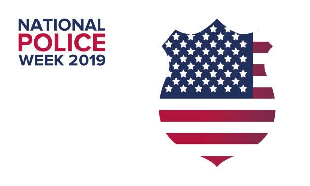 5月國家員警周。每年在美國慶祝。為了紀念員警軍官紀念日海報、卡片、橫幅和背景。向量例證 - 國家名勝 幅插畫檔、美工圖案、卡通及圖標