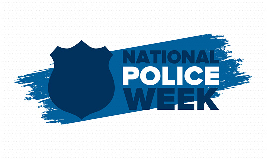 National Police Week in May. Celebrated annual in United States. In honor of the police hero. Police badge and patriotic elements. Officers Memorial Day. Poster, card, banner. Vector illustration