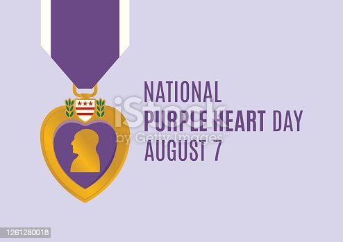 Purple Heart medal vector. Purple Heart Day Poster, August 7. Important day