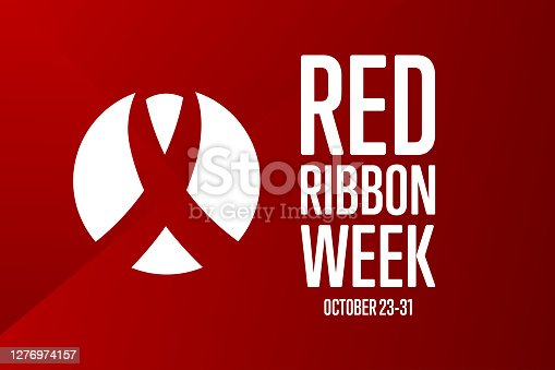 National Red Ribbon Week. October 23-31. Holiday concept. Template for background, banner, card, poster with text inscription. Vector EPS10 illustration