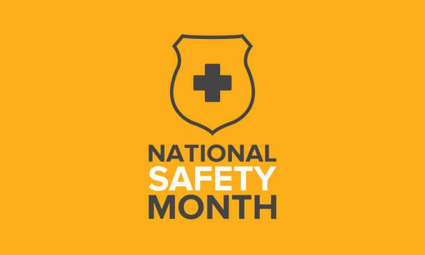 6月的全國安全月。每年在美國慶祝一個月。在工作、家庭、路上意外受傷的警告。安全理念。海報、卡片、橫幅和背景 - 國家名勝 幅插畫檔、美工圖案、卡通及圖標