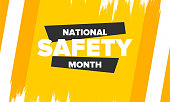 istock National Safety Month in June. Annual month-long celebrated in United States. Warning of unintentional injuries at work, at home, on the road. Safety concept. Poster, card, banner and background 1226655254