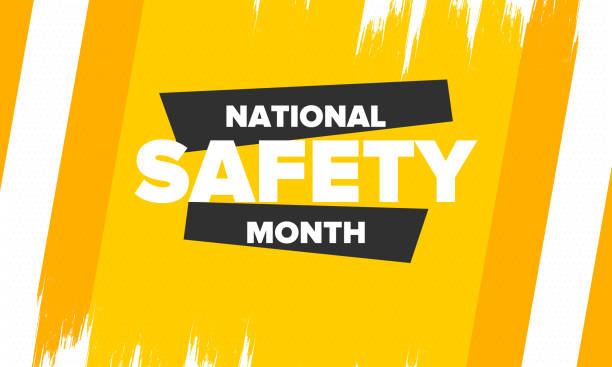 National Safety Month in June. Annual month-long celebrated in United States. Warning of unintentional injuries at work, at home, on the road. Safety concept. Poster, card, banner and background National Safety Month in June. Annual month-long celebrated in United States. Warning of unintentional injuries at work, at home, on the road. Safety concept. Poster, card, banner and background month stock illustrations