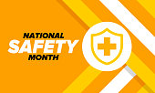 istock National Safety Month in June. Annual month-long celebrated in United States. Warning of unintentional injuries at work, at home, on the road. Safety concept. Poster, card, banner and background 1318976769